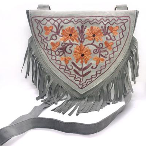 H7.17-H7.26 Sweetheart Embroidered Suede Fringe Crossbody Bag