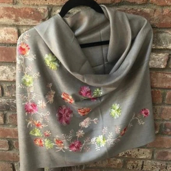 SP.06 Gray Semi Pashmina Embroidered Stole
