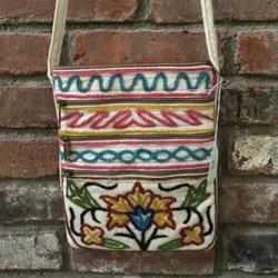 Floral Boho-Style Canvas Crossbody Embroidered Bag (PAT 2)