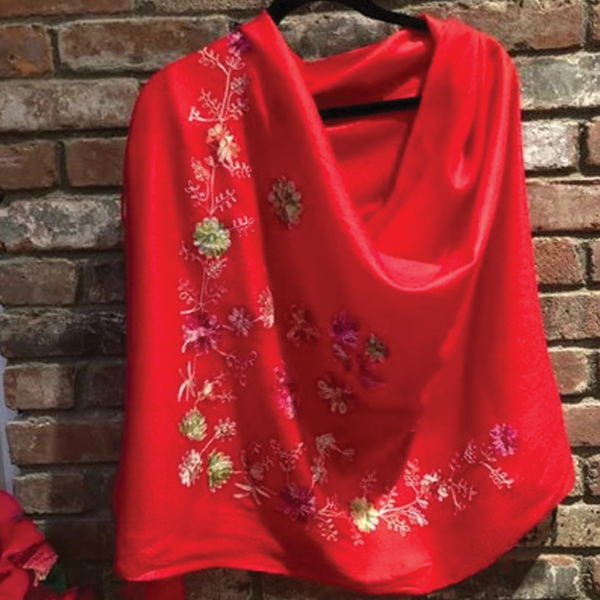 Passion Red Romantic Semi-Pashmina Floral Embroidered Stole