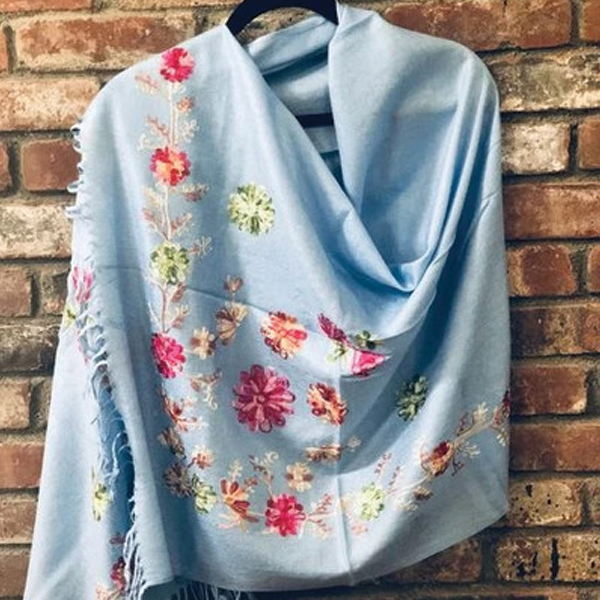 SP.09 Sky Blue Embroidered Romantic Semi-Pashmina Stole