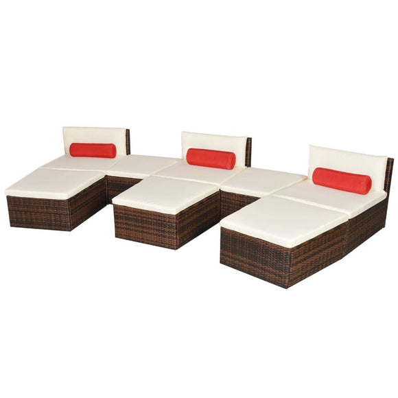 22 Piece Modular Sunlounger (Brown).