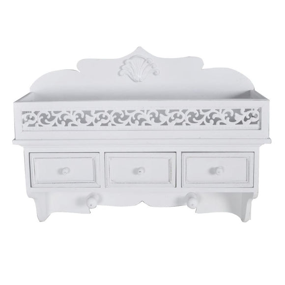 Wall Shelf / Pooja Shelf 3 Drawer - White