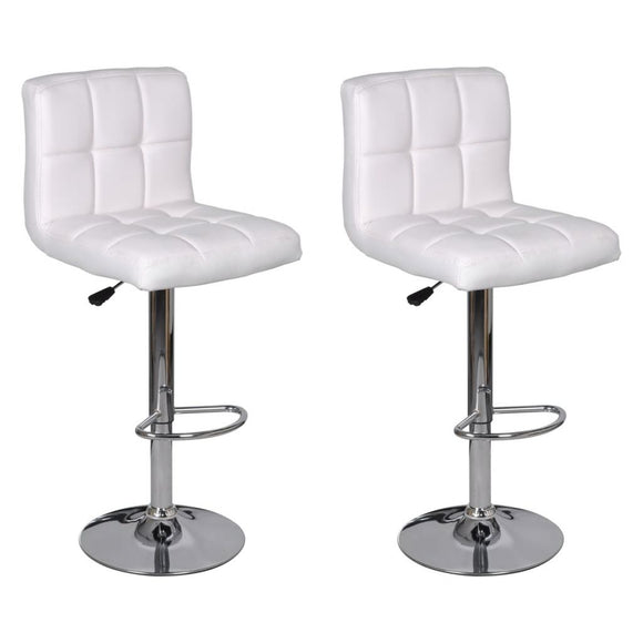 2 x Bar Stool  Height Adjustable (White)