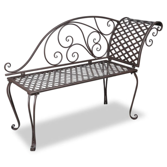 Rose Patterned Metal Garden Bench (Brown)