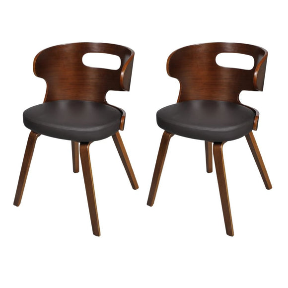 2 Pcs Dining Chair Wooden Frame (Brown)