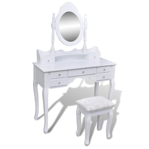 Dressing Table 7 drawer with Mirror and Stool (White)