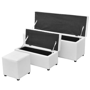 Storage Bench 3 Piece (White)