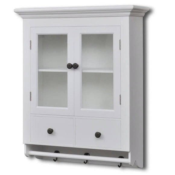 Wall Cabinet, Pooja Cabinet Wood with Glass Door (White)