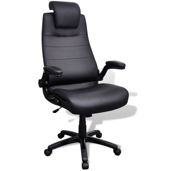 Office Chair Swivel Adjustable (Black-Artificial Leather)
