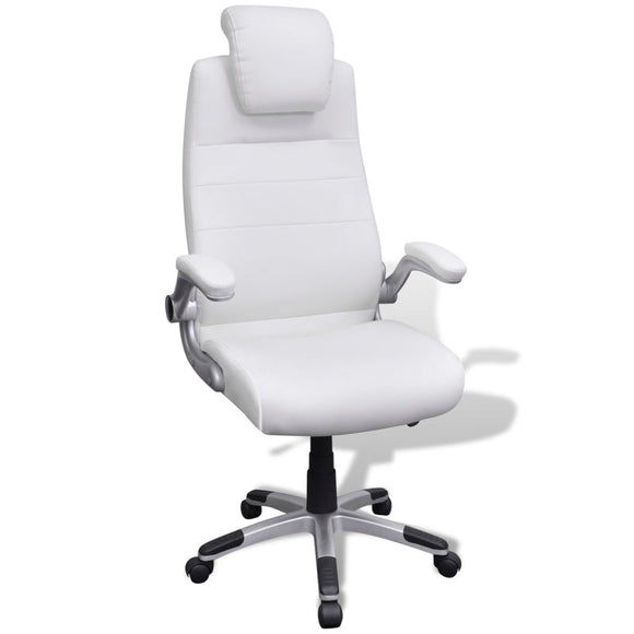 Office Chair Swivel Adjustable (White-Artificial Leather)