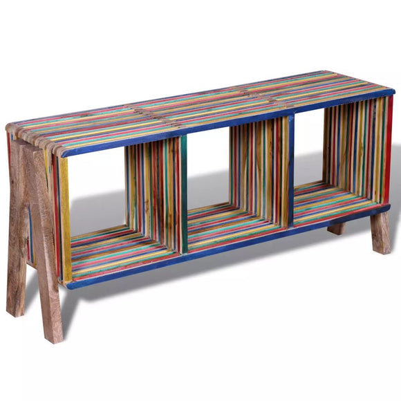 Colourful Stackable Reclaimed Teak TV Cabinet with 3 Shelves