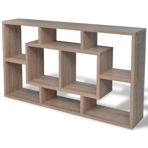 Floating Wall Shelf 8 Compartment (Oak Color)