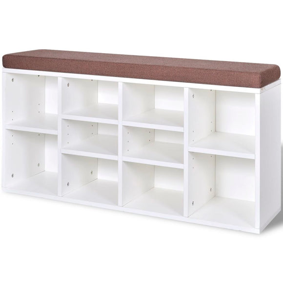 Bench with Shoe Storage (White)