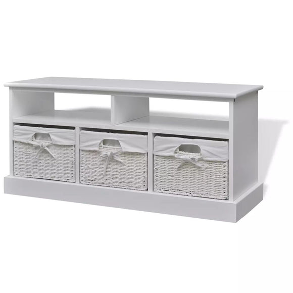 Bench Storage 3 Basket (White)
