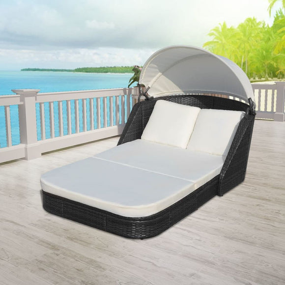 Sunlounger with Canopy (Black)