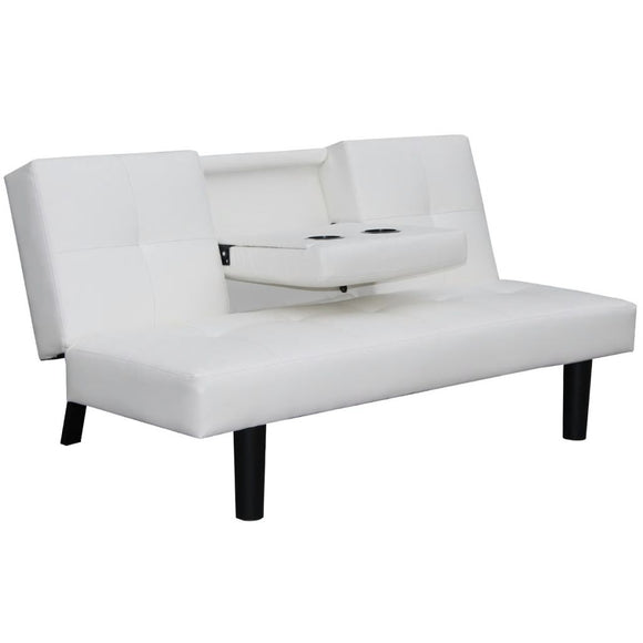 Sofa Bed with Drop Leaf Table (White)