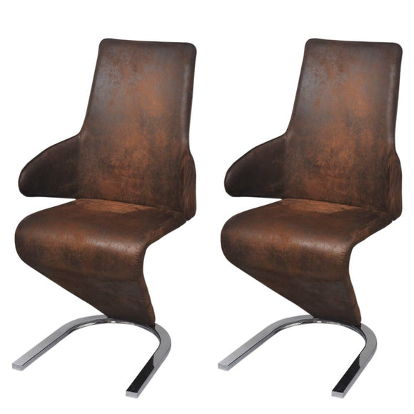 2 Pcs Cantilever Dining Chair  Fabric (Brown)