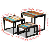 3 Piece Resting Table Reclaimed Wood