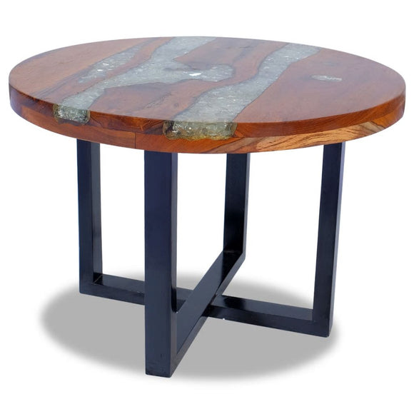 Coffee Table Round Resin - Solid TeakWood