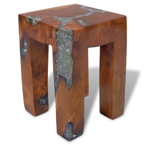 Teak Wood Stool - Resin