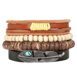 New Fashion Bead Leather Bracelets & bangles for Women 3/4 pcs 1 Set Multilayer Wristband Bracelet Men Pulseiras dropshiping