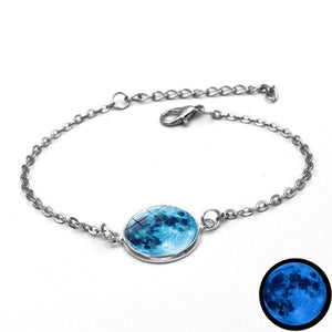 Glow In The Dark Charms Bracelet Glass Cabochon Gray Moon Luminous Jewelry  Silver Chain Link Bracelets for Women Girl Gift