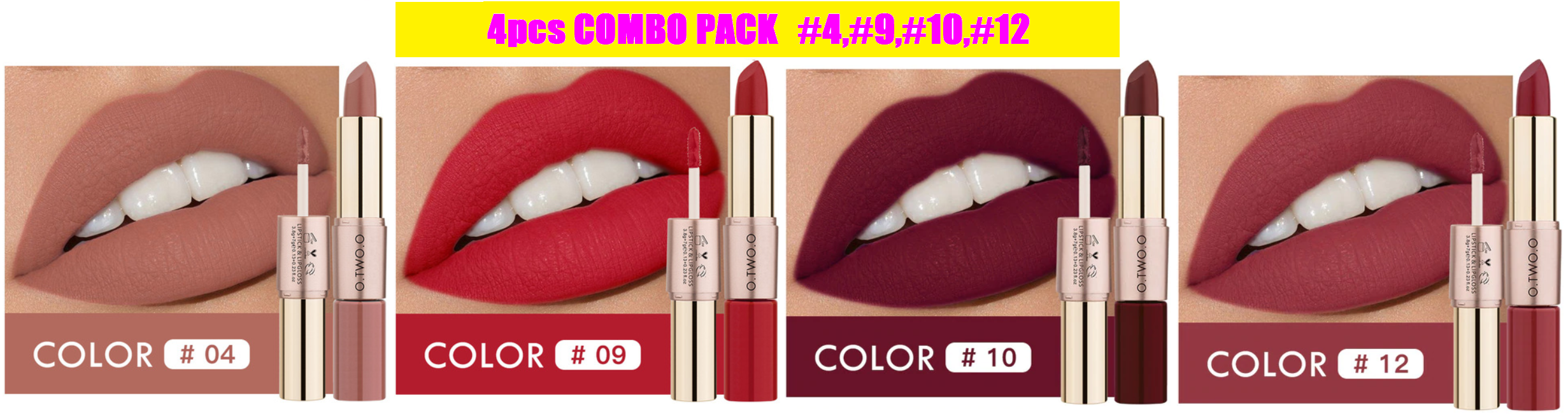 Amazing Velvety-Matte 4 Lipsticks Combo Pack, Latest Shades, Popular Colors 2-In-1 Lip Gloss Matte Lipstick - thara.