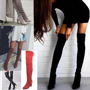 Flock Leather Over The Knee Boots New 2020 Styles - thara.