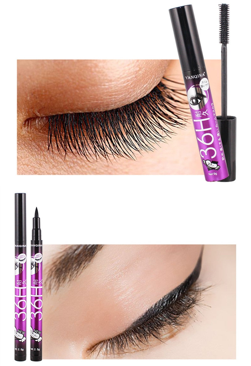 Thick Curling Lashes Makeup Set 4D Black Waterproof Liquid Mascara 4D Eyeliner