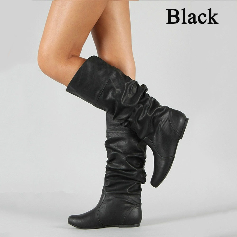 Women's Leather Mid Calf Boots Casual Slip on Autumn Winter Long Boots - shopthara.com