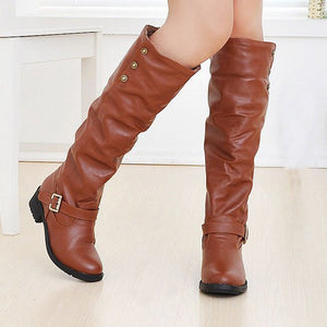 Long Tube Retro Women's Knight Boots - thara.