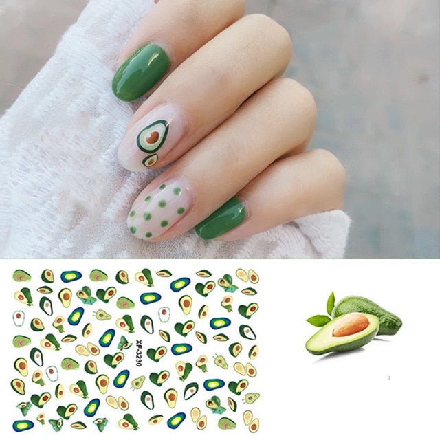 Hot Sale Manicure Nail Decoration Jungle Flamingo Flora Cactus Avocado Leaf Watermark - thara.