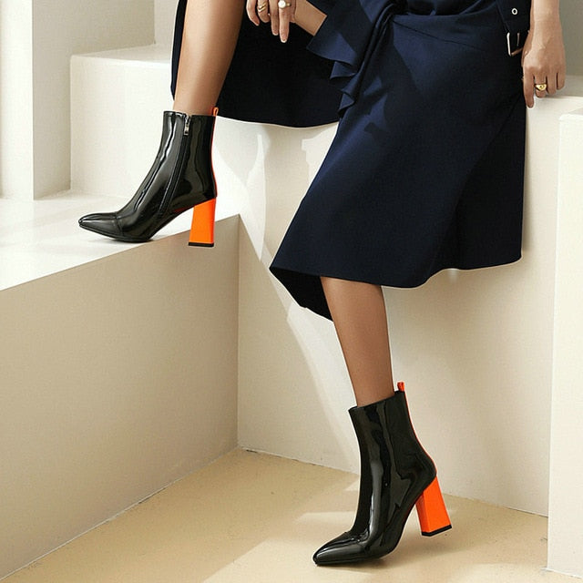 2020 Fashion Patent PU Leather Women Ankle Boots - thara.