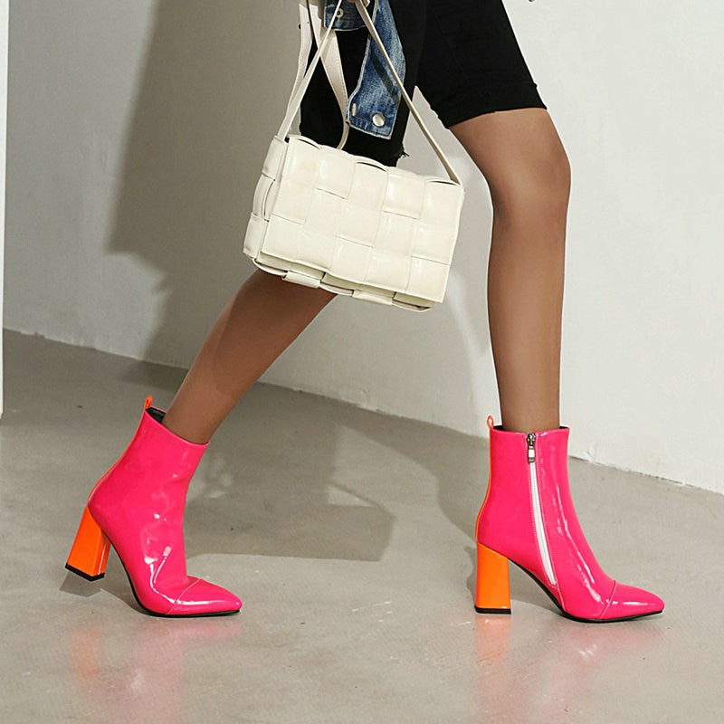2020 Fashion Patent PU Leather Women Ankle Boots - shopthara.com