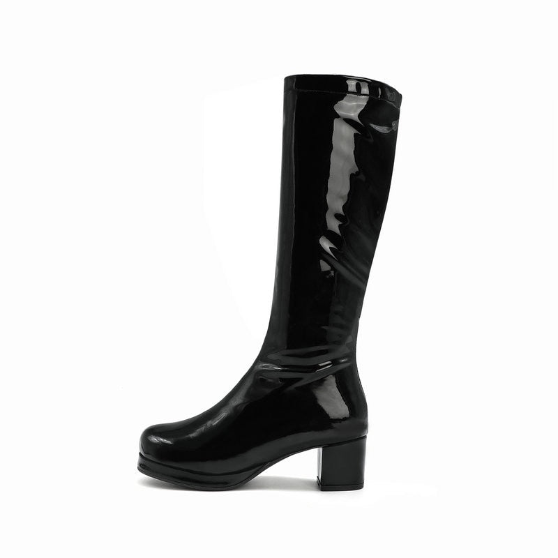 2020 Stylish PU Leather Winter Fall Women Knee High Party Boots - shopthara.com