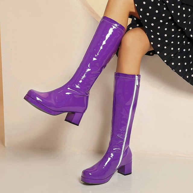 2020 Stylish PU Leather Winter Fall Women Knee High Party Boots - thara.