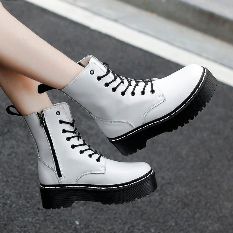 2020 Fashion Increased Heel Genuine Leather Autumn Winter Ankle Boots - shopthara.com