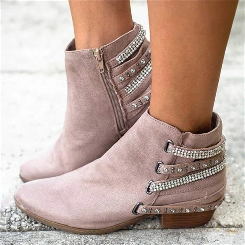 Rhinestones Ankle Boots - thara.