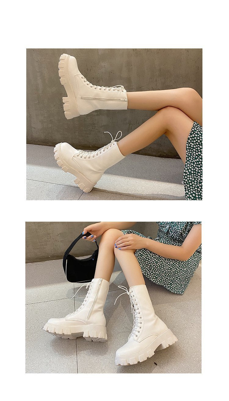 High Heel Wedges Lace Up PU Leather Boots Women's Girls Autumn Winter - shopthara.com