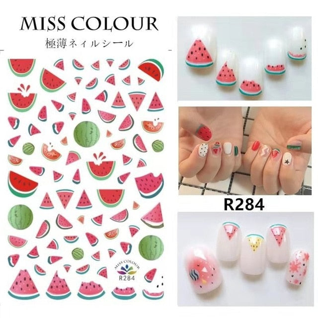 3D Fruit Design Nail Art Sticker Foil Everything Cherry Avocado Rainbow - thara.