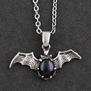 Gothic Black Stone Vampire Bat Necklace - thara.