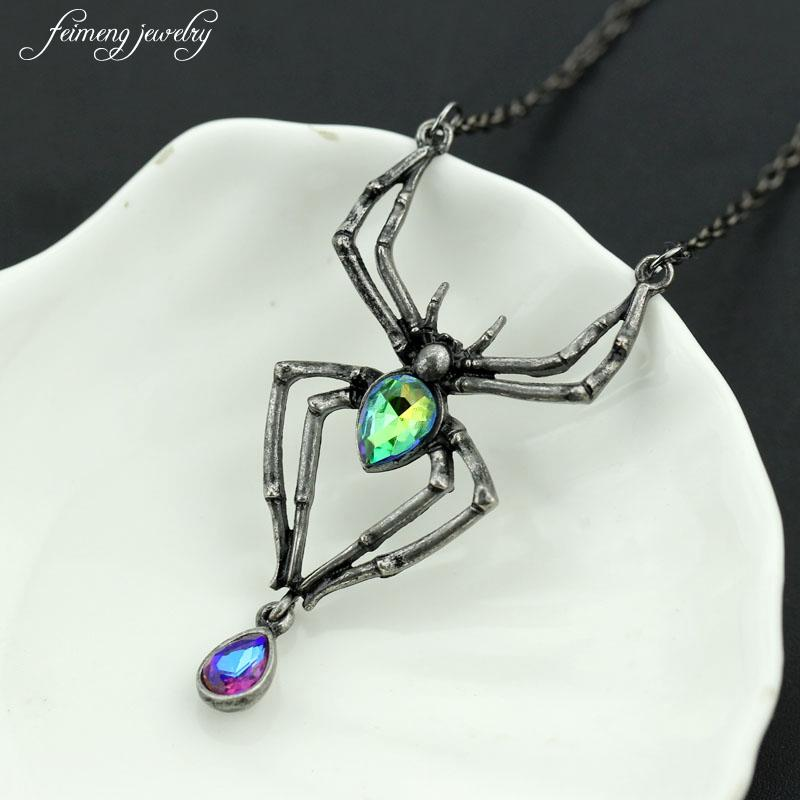 Black Spider Green Crystal Pendant - shopthara.com