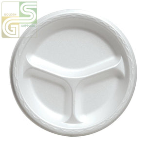 "10"" Foam Plate 3 Comp 125/cs-Golden Supplies Ltd"