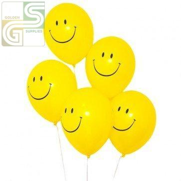 "12"" Printed Party Ballons Happy Face 10 Pcs-Golden Supplies Ltd"