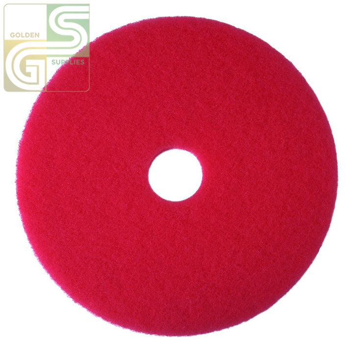 "12"" Red Spray Buff Floor Pad 5 Pcs-Golden Supplies Ltd"