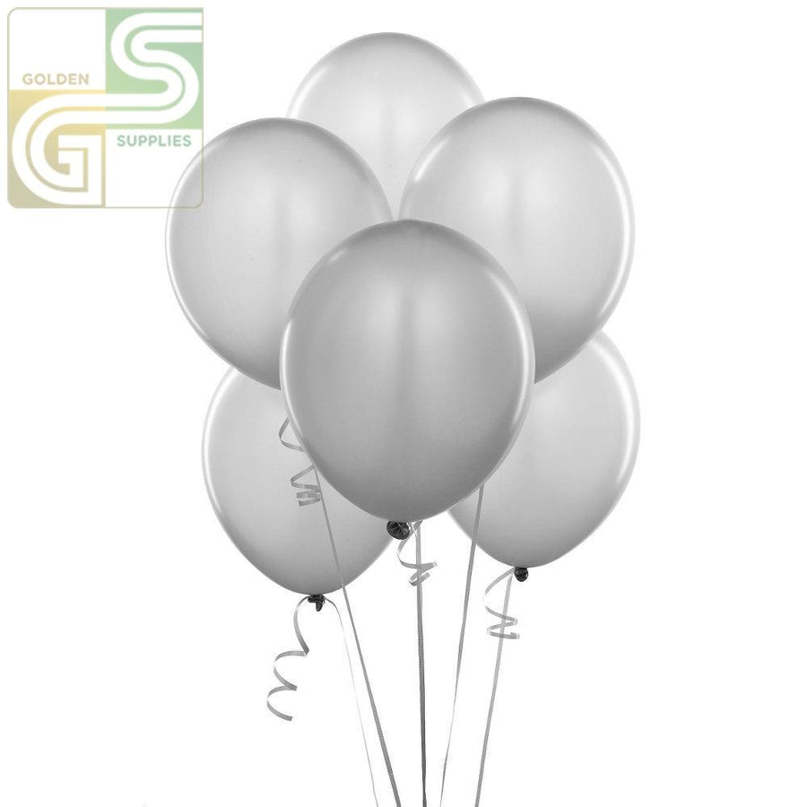"12"" Silver Balloons 10 Pcs-Golden Supplies Ltd"