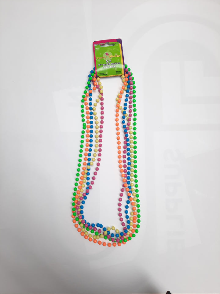 "32"" Neon Bead Necklaces 5 Pcs"