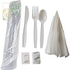 Cutlery Kit 6pcs (k,f,sp,salt,pepper,napkin) 250 Pcs