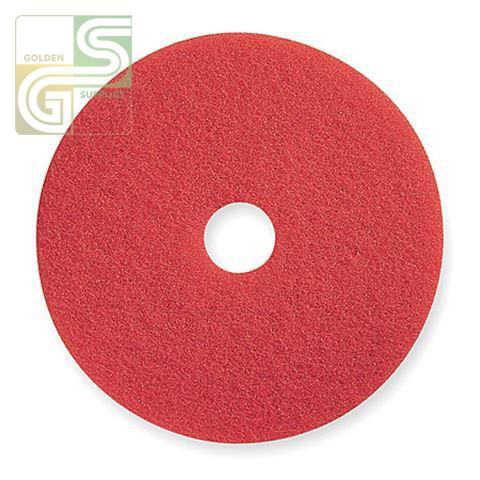 "15"" Red Spray Buff Floor Pad 5 Pcs-Golden Supplies Ltd"
